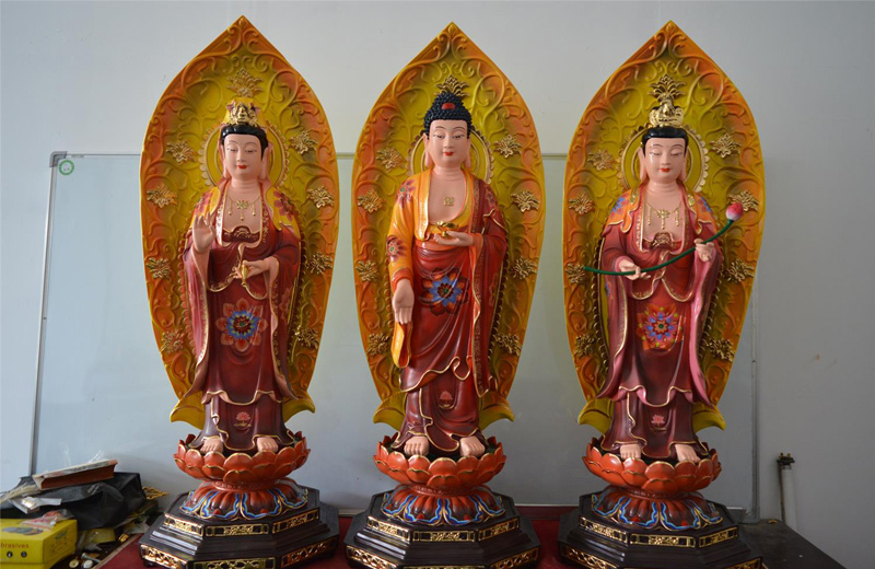 51西方三圣(彩色)—佛像|树脂佛像|佛像厂家|佛像批发